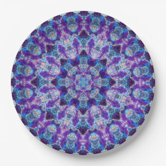 Luminous Crystal Flower Mandala Paper Plate