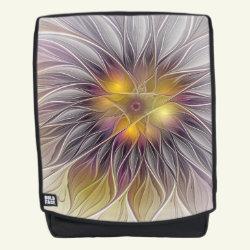 Luminous Flower, Abstract Fractal Art Backpack