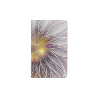Luminous Flower, Abstract Fractal Art Pocket Moleskine Notebook