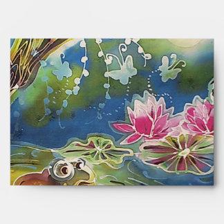 Luminous Frogs Silk Art Painting Envelope