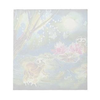 Luminous Frogs Silk Art Painting Memo Note Pad