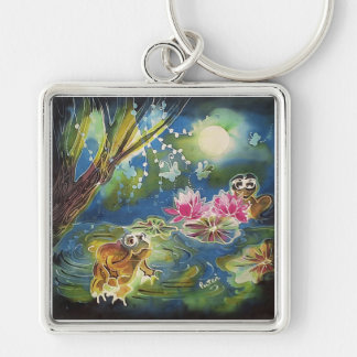 Luminous Frogs Silk Art Painting Silver-Colored Square Keychain