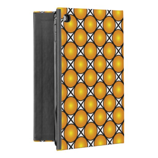 Luminous Golden Dots Black White Lattice Pattern iPad Mini 4 Case