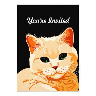 Luminous Green Eyed Orange Tabby 5x7 Paper Invitation Card