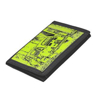 luminous lime green urban comic cartoon car trifold wallet