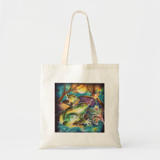 Luminous Night of Frogs Tote Bags
