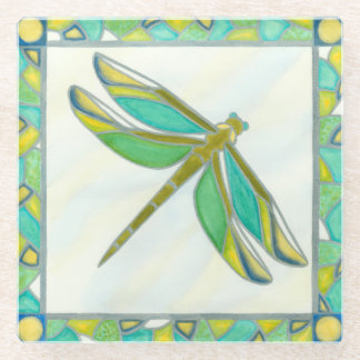 Luminous Pastel Dragonfly by Vanna Lam Glass Coaster