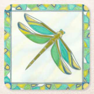 Luminous Pastel Dragonfly by Vanna Lam Square Paper Coaster