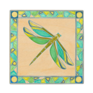 Luminous Pastel Dragonfly by Vanna Lam Wooden Coaster