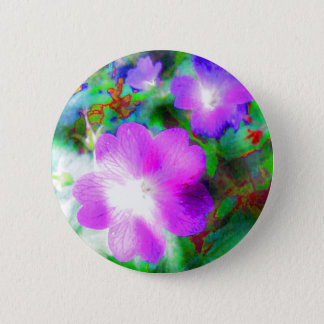 Luminous Pink Floral Psychedelic Button