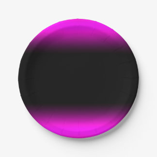 Luminous Pinkish Purple and Black Ombre Paper Plate