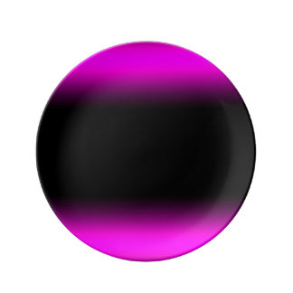 Luminous Pinkish Purple and Black Ombre Porcelain Plate