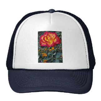 Luminous red and yellow rose with raindrops trucker hats