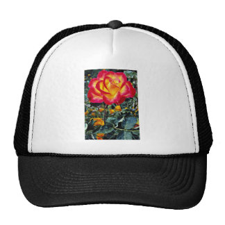 Luminous red and yellow rose with raindrops mesh hats