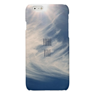 Luminous Sun and Wispy Clouds Personalize Glossy iPhone 6 Case