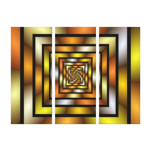 Luminous Tunnel Colorful Graphic Fractal Pattern Canvas Print -