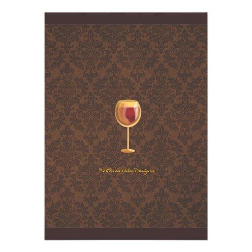 Luminous Wine Glass Wine Tasting Party Invitation (back side)