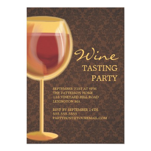 Luminous Wine Glass Wine Tasting Party Invitation (front side)