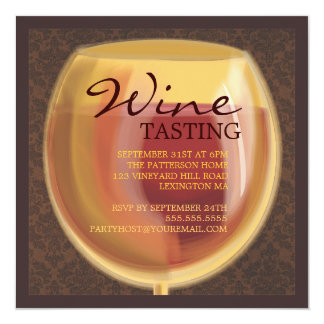 Luminous Wine Glass Wine Tasting Party Invitation