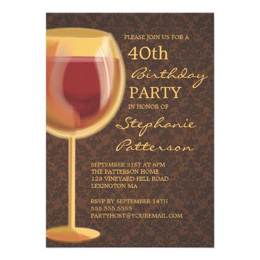 Luminous Wine Themed Milestone Birthday Invitation