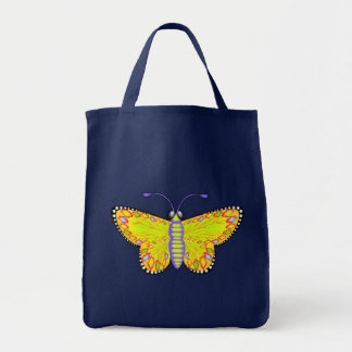 Luminous Yellow Butterfly Tote Bags