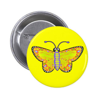 Luminous Yellow Butterfly Button