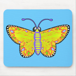 Luminous Yellow Butterfly Mouse Pad