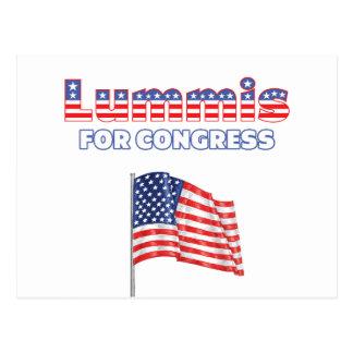 Lummis para la bandera americana patriótica del postal