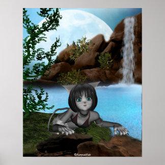 Luna 2 de las cascadas del gatito del animado de C Póster