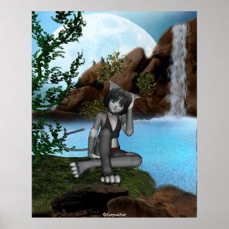 Luna 3 de las cascadas del gatito del animado de C Póster