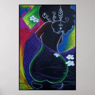 Luna africana en el agua de Digitaces Poster