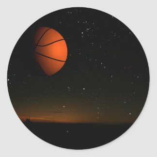 Luna anaranjada pegatina redonda