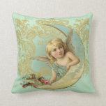 Luna Angel throw pillow, vintage custom art