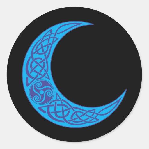 Luna azul céltica pegatina redonda