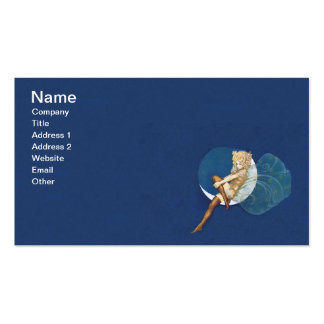 Luna azul de las medias de hadas azules bonitas de tarjeta de visita