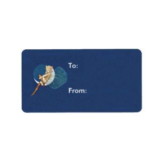 Luna azul de las medias de hadas azules bonitas etiquetas de dirección