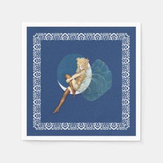 Luna azul de las medias de hadas azules bonitas servilletas desechables