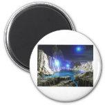 luna azul del arte 3d imán de nevera
