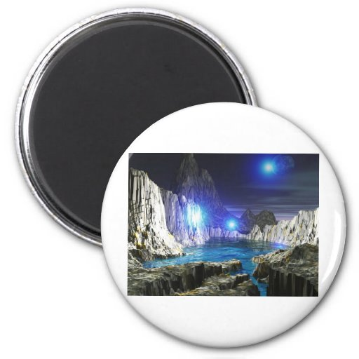 luna azul del arte 3d imán redondo 5 cm