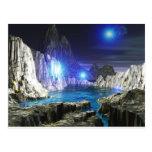 luna azul del arte 3d postal