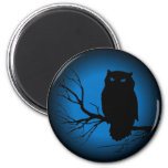 Luna azul del búho fantasmagórico imán para frigorifico