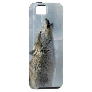 Luna azul del lobo iPhone 5 protector