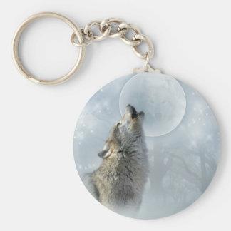 Luna azul del lobo llavero personalizado