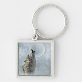 Luna azul del lobo llavero cuadrado plateado