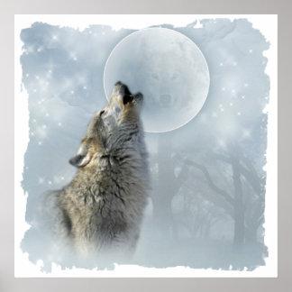 Luna azul del lobo poster