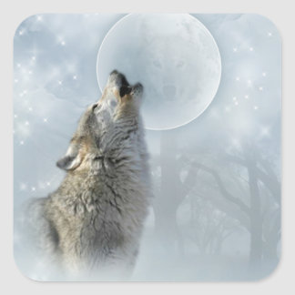 Luna azul del lobo pegatina cuadrada