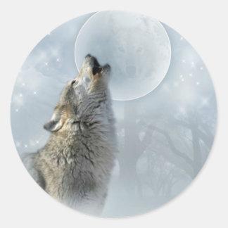 Luna azul del lobo pegatina redonda