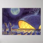Luna azul del planeta de los extranjeros de la cie posters