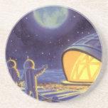 Luna azul del planeta de los extranjeros de la cie posavasos diseño