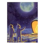Luna azul del planeta de los extranjeros de la postal